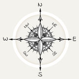 Graphic wind rose compass drawn with floral elements Royalty Free Stock Images