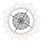 Graphic wind rose compass drawn with floral elements Royalty Free Stock Photo