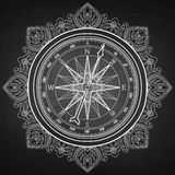 Graphic wind rose compass. Drawn in line art style. Nautical vector illustration  on chalkboard. Coloring book page design Royalty Free Stock Photos