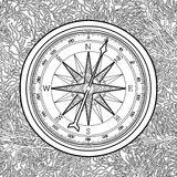 Graphic wind rose compass. Drawn in line art style. Nautical vector illustration. Coloring book page design Royalty Free Stock Photography