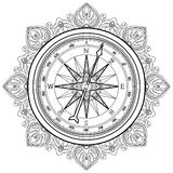 Graphic wind rose compass. Drawn in line art style. Nautical vector illustration. Coloring book page design Stock Photography