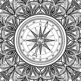 Graphic wind rose compass. Drawn in line art style. Nautical vector illustration. Coloring book page design Stock Photo