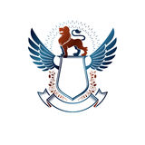 Graphic winged emblem composed with Brave Lion King and beautifu Royalty Free Stock Images