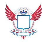 Graphic winged emblem composed with royal crown element, pentago Stock Image
