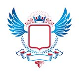 Graphic winged emblem composed with royal crown element, pentago Stock Photography