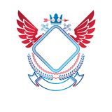 Graphic winged emblem created with ancient Crown and sharp spear. Heraldic vector design element decorated with ribbon. Retro style label, heraldry logo Royalty Free Stock Images