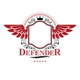Graphic winged symbol composed with royal crown element and flor Royalty Free Stock Image