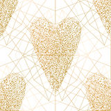Graphic winter heart. Graphic snowflakes in the shape of heart. Winter design in golden colors Royalty Free Stock Photos
