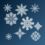 Graphic winter set of snowflakes Royalty Free Stock Photos