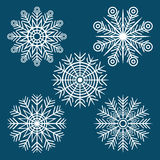 Graphic winter set of snowflakes Stock Photo