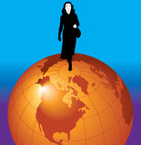 Graphic of woman on globe. Graphic of businesswoman standing on globe. Could be used to depict abstract images of global business or other modern business themes Stock Images
