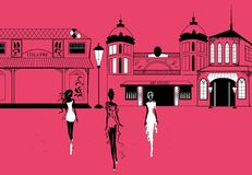 Graphic women silhouettes on street Royalty Free Stock Images