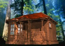 Graphic of wood cabin and trees Stock Photography