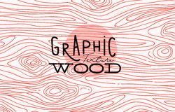 Graphic wood texture. Wood graphic texture drawing with coral lines on white background Stock Images