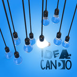 Graphic word IDEA CAN DO and 3d light bulb. Hand drawn graphic word IDEA CAN DO and 3d light bulb as concept Stock Photos