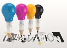 graphic word INNOVATION and 3d pencil light bulb Stock Photos