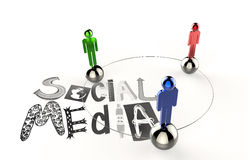 Graphic word SOCIAL MEDIA and 3d human link sign Stock Photos