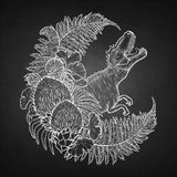 Graphic wreath with dinosaur. Graphic crescent shaped wreath of prehistoric plants with a snarling T-Rex. Roaring dinosaur. Vector art drawn in engraving Stock Image