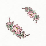 Graphic wreath with flowers of lotus. Used for wedding invitation, greeting cards Royalty Free Illustration