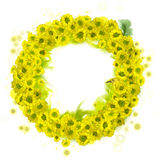 Graphic wreath - yellow bloom in feathers. A graphic composition of decorative elements with individually photographed flowers, a yellow bird, green feathers on Stock Image