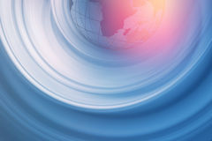 Graphical Abstract Background Concept Series 147. Graphical Abstract Background , Radial White Motion Blur Trails in Front of Blue Background with Earth Globe in Stock Image