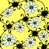 Graphical abstract background with white flowers. Graphical abstract yellow background with white flowers Royalty Free Stock Photography