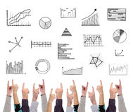 Graphical analysis concept pointed by several fingers Stock Photography