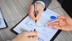 Graphical analysis graph which lies on the Desk Royalty Free Stock Image