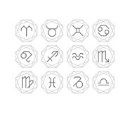 Graphical astrological symbols, line art deco style Royalty Free Stock Photos