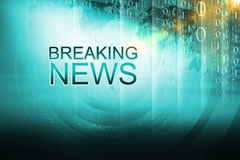Graphical breaking news background Concept Series 400. Graphical breaking news background. Digital background with breaking news text. 3d Illustration, 3d Render Stock Photography