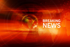 Graphical Breaking News Background with Earth Globe in Center Stock Images