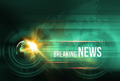 Graphical breaking news background with earth globe and lens fla. Re Royalty Free Stock Photo
