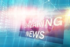 Graphical Breaking News Background with news text concept series. Graphical Breaking News Background with news text, Blue Theme Background with White Breaking Stock Image