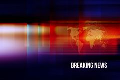 Graphical breaking news background concept series. Graphical breaking news background with world map and connection lines. 3d illustration Royalty Free Stock Photos