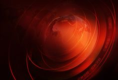 Graphical business news background with world map and round circ. Les around earth globe. 3d Illustration, 3d Render Stock Images