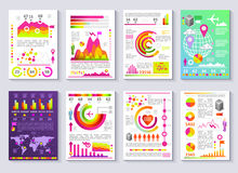 Graphical Business Report Vector Template Modern Infographic Set. Graphical business company report vector set of templates. Flat 3D modern style charts and Royalty Free Stock Photography