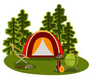 Graphical camping illustration in flat style Royalty Free Stock Photography