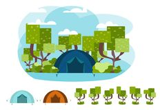 Vector camping concept with tent and nature royalty free illustration