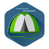 Graphical camping illustration made in flat style Royalty Free Stock Photo