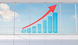 Graphical chart with arrow rising up Royalty Free Stock Image
