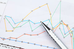 Graphical chart and pen Stock Images