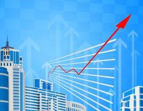 Graphical chart with red arrow up Stock Images