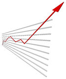 Graphical chart with red arrow up. Vector Stock Photo
