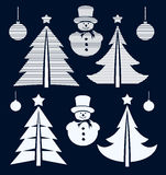 Graphical Christmas symbols set Royalty Free Stock Images