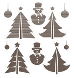 Graphical Christmas symbols set. Vector illustration Stock Image