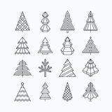 Graphical Christmas tree set. Hipster linear style Royalty Free Stock Photos