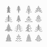 Graphical Christmas tree set vector illustration