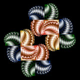 Graphical composition with color spiral elements on black backg Stock Image
