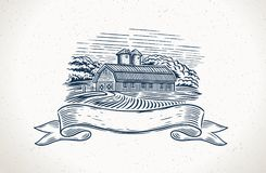 Graphical countryside landscape with farm and design element stock illustration