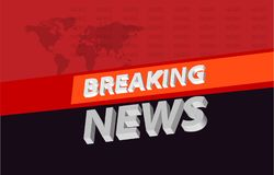 Graphical 3d breaking news background on orange band concept. Graphical 3d breaking news background on orange band , tv news background concept Stock Photos